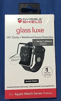 ZAGG Invisible Shield Glass Luxe Fits Apple Watch & Series 1 2 3 - Black - 42mm