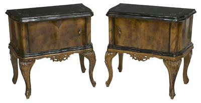 ANTIQUE (PAIR) ITALIAN VENETIAN BURLWOOD BEDSIDE CABINETS, early 1900s