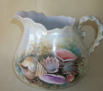 Antique Porcelain Pitcher Cider Pitcher Hp Signed Sea Shells In Sea Large