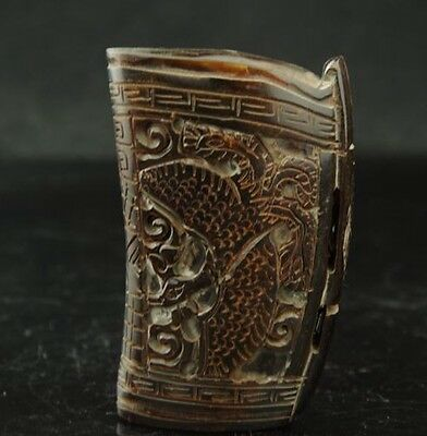 Chinese Old Antique Ox-Horn Hand-carved Dragon Cup GG6