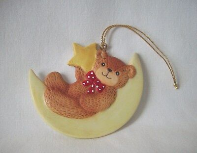 Vintage Lucy Rigg 1980 Lucy And Me Christmas Ornament Bear Laying On The Moon