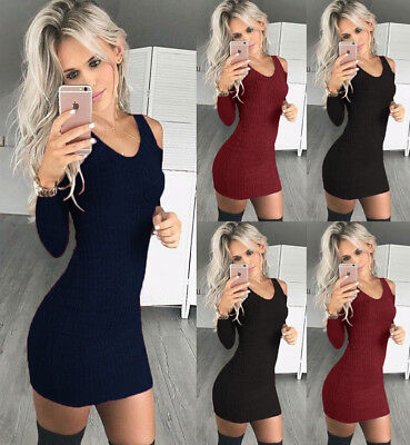Women Off Shoulder Knitted Jumper Dress Party Club Bodycon Mini Sweater Dress