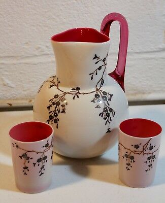 Victorian Antique Cased Cranberry Glass Pitcher Set Beautiful Opaque Enameled
