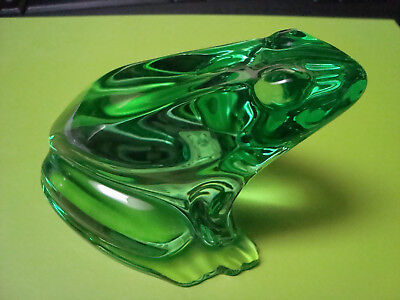 Signed Baccarat Green Crystal Frog Figurine Paperweight