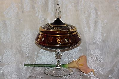 Bohemian Italian Gilded Gold Purple Glass Compote with Applied Cameo