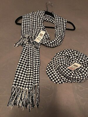 NWT Charter Club Houndstooth Black & White Newsboy Hat & Scarf Chenille