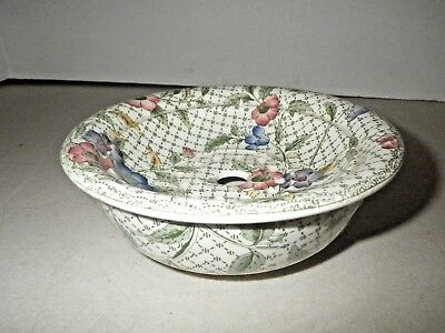 Mintons Green & Floral Flowers Transferware Chamber Soap Dish Bowl with Insert