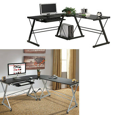 L-Shape Corner Computer Desk Wood /Glass PC Laptop Table Workstation Home Office