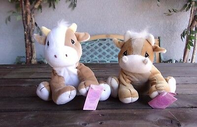 Precious Moments Tender Tails Cow & Bull Lot Bean Bag Plush Dolls Vintage 1998
