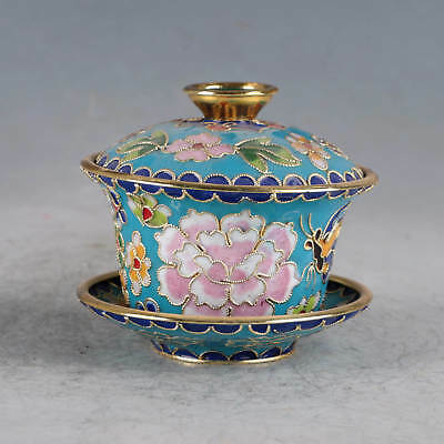 Chinese Cloisonne Handmade Flower&Butterfly Cup JTL1029