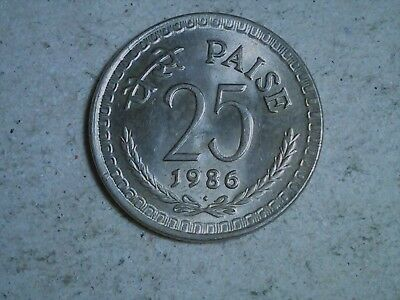India 25 paise 1986