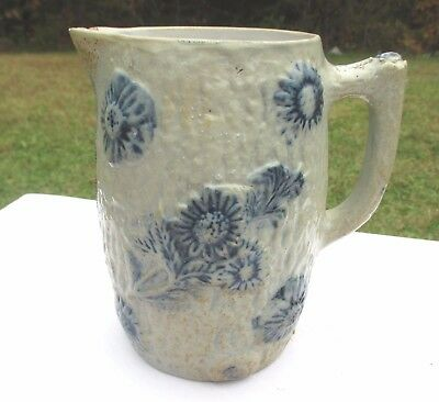 ANTIQUE Salt Glazed Buttermilk Pitcher UTICA WHITES Ca. 1890s Wild Rose Pattern