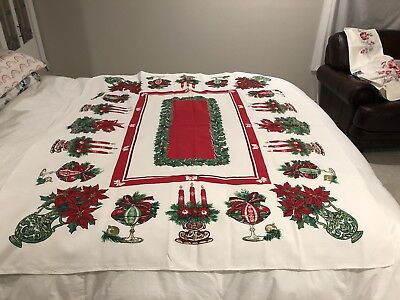 Vintage Christmas Cotton Tablecloth Holly,Candles,Poinsettia & Ornaments
