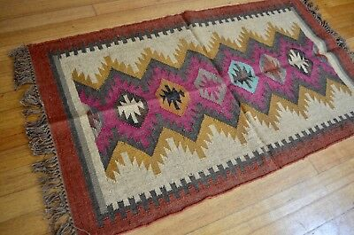 Rug Indian Kilim Jute Wool Hand Knotted Geometric 90x150cm 3'x5' Pink Blue Brown