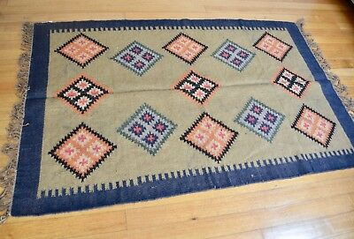Kilim Rug Indian Jute Wool Hand Knotted 120x180cm 4x6ft Blue Beige Second