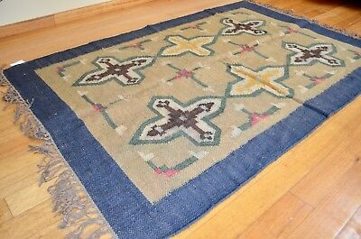 Blue Kilim Rug Indian Jute Wool Hand Knot Diamond 120x180cm 4x6ft Beige Second