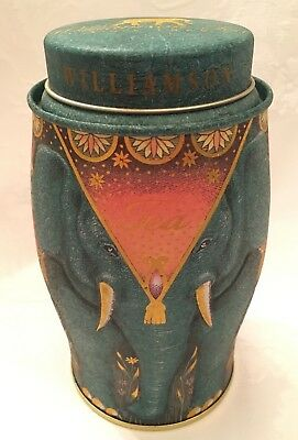 Collectible Teal Blue Elephant Williamson Tea Metal Tin Canister w/ Lid empty