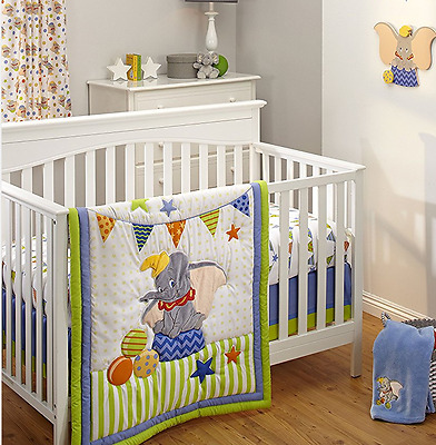 Disney Dumbo 3 pc Baby Cot Set Quilt Sheet & Crib Valance NEW