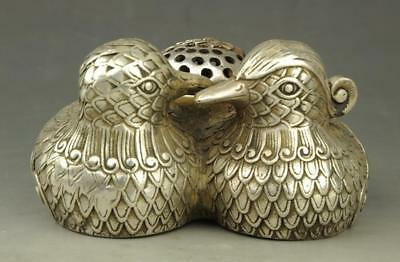 Chinese old Tibet silver hand-carved mandarin duck statue incense burner