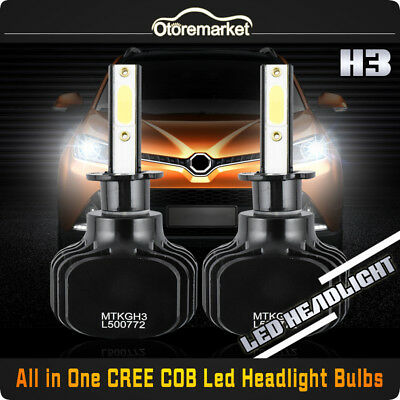 2x H3 CREE COB LED Headlight Conversion Kit Fog Lamp 120W 12000LM 6000K Bulbs
