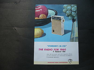 Stardard Transistor Radio SINGLE SHEET BROCHURE