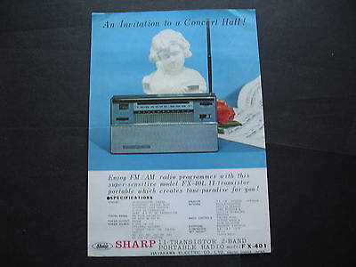 Sharp Protable Radio FX 401 SINGLE SHEET BROCHURE
