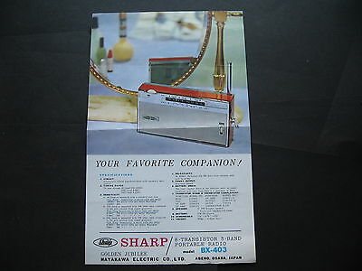 Sharp Protable Radio BX 403 SINGLE SHEET BROCHURE