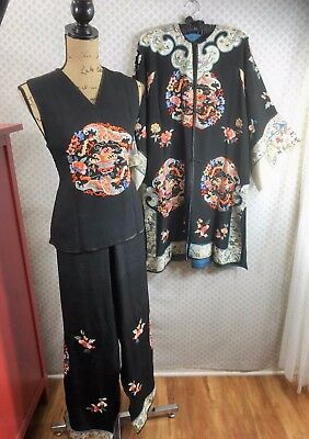 Antique Vintage Chinese Asian Silk Embroidered Robe Kimono Old Dress Floral RARE