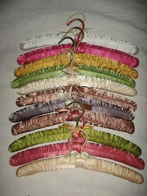 Set Of 11  Satin Padded Clothes Hangers Pastel Colors  Good Used Condition