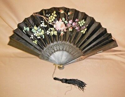 """Victorian Antique 1800's Large Black 22"""" Hand Fan, Hand Painted with Roses & Bee"""