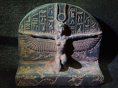 ANCIENT EGYPTIAN ANTIQUE Winged Isis Love Goddess Sculpture Stela 1200–1085 BC