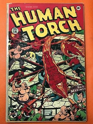 Rare 1944 Timely HUMAN TORCH #14 *WWII Super Violent * HITLER App* Coverless