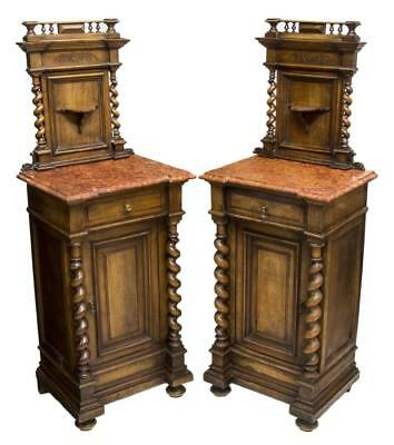 (2) FRENCH HENRI II MARBLE-TOP BEDSIDE CABINETS, 19th Century ( 1800s )