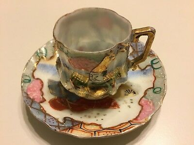 Nice Miniature Chinese Cup And Saucer Nick On Saucer As-Is
