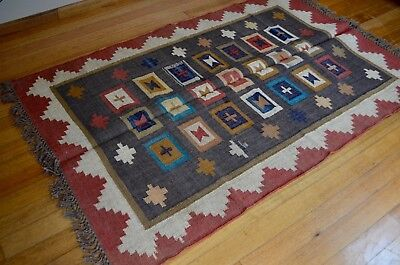 Rug Indian Kilim Jute Wool Hand Knotted Geometric 120x180cm 4'x6' Grey Orange