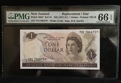 NEW ZEALAND 1 Dollar Replacement/ Star Note (1971-80) P-163d~ PMG 66 EPQ