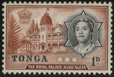 Lot 3638 - Tonga –  1953 1d black and brown Queen Salote mint hinged stamp