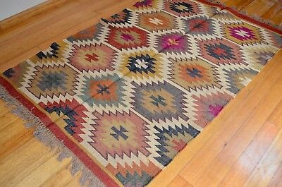 Rug Indian Kilim Jute Wool Hand Knotted Geometric 120x180cm 4'x6' Pink Orange