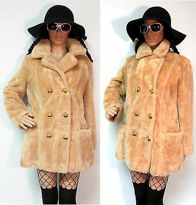 Vtg 60's 70's Boho Hippie Plush Double Breasted Faux Fur Peacoat S/m