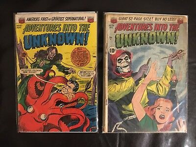 Adventures Into The Unknown! Golden Age Comic Book Lot 2 Issues, #26 And #47