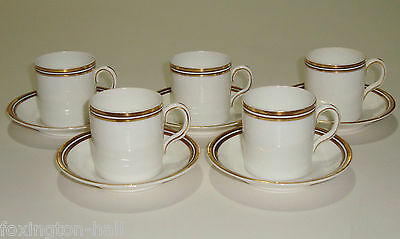 5 Beautiful Vintage English White & Gilt Coffee Cups & Saucers