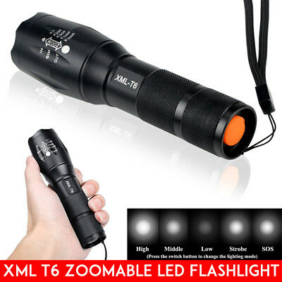 Police CREE T6 LED Zoomable Torch Tactical Flashlight Bright Light Lamps