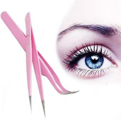 Stainless Steel Makeup Tools Eyelash Extension Straight/Curved Clip Tweezers New