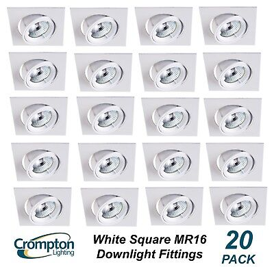 20 Pack x White SQUARE Gimble Downlight Fittings 12V MR16 Gimbal