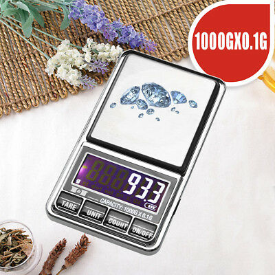 Portable LCD Electronic Digital Scale Jewelry Pocket Balance 1000g*0.1g Weight