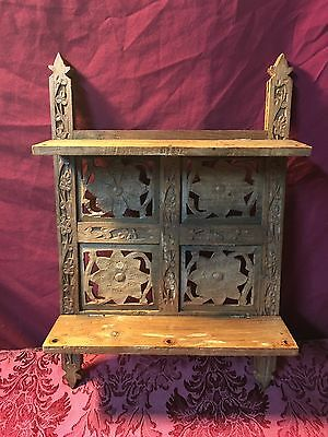 Antique Vintage Hanging Hand Carved Wooden Shelf With Two Shelfs 17X11 SHIPS NOW