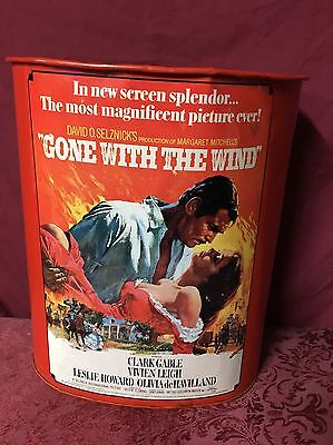 RARE! 1960's Vintage GONE WITH THE WIND Movie Poster Metal Garbage Can SHIPS NOW