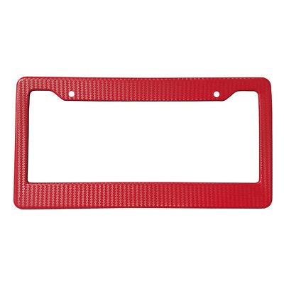 2 Pieces Red Carbon Fiber Look License Plate Frame Cover Auto Front & Rear+Screw