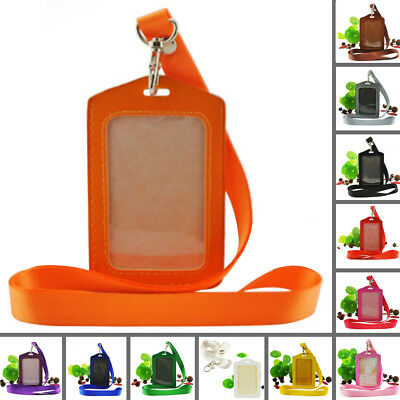 Hot Sales Pocket ID Card Pass Badge Holders Case + Neck Strap Lanyard PU Leather