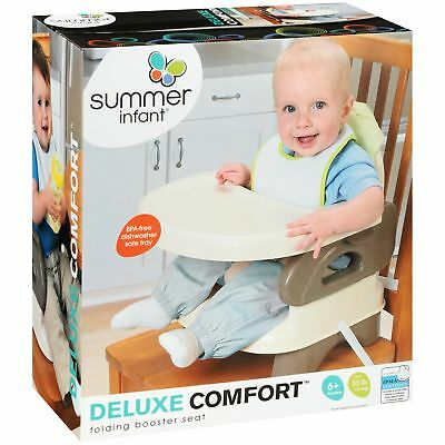Summer Infant Deluxe Comfort Folding Booster Seat Tan 2 Level Height Adjustment
